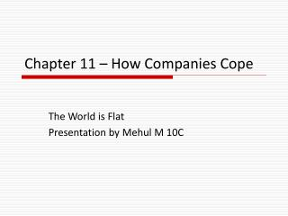 Chapter 11 – How Companies Cope