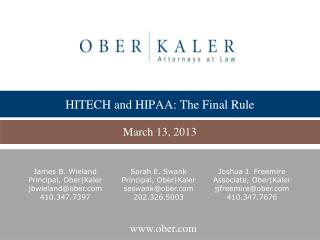 HITECH and HIPAA: The Final Rule