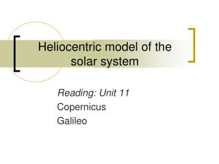 Heliocentric model of the  solar system