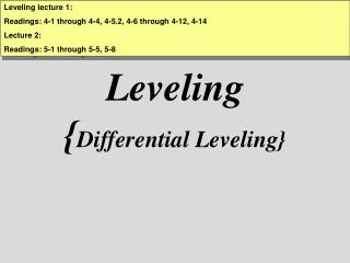 Leveling { Differential Leveling}