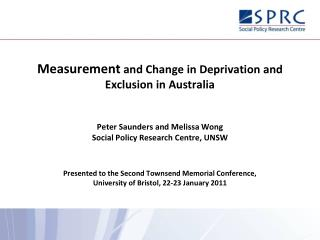 Measurement  and Change in Deprivation and Exclusion in Australia