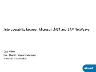 Interoperability between Microsoft .NET and SAP NetWeaver