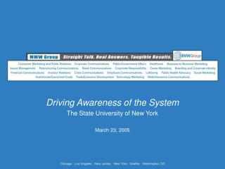 Driving Awareness of the System The State University of New York