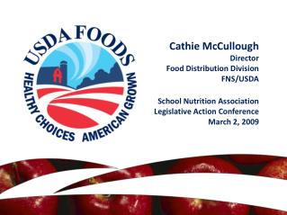 Cathie McCullough Director Food Distribution Division FNS/USDA School Nutrition Association