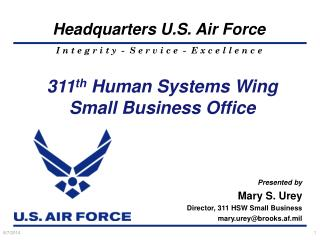 311 th  Human Systems Wing Small Business Office