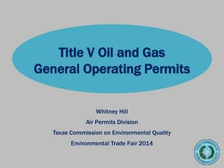 Title V Oil and Gas  General  Operating  Permits
