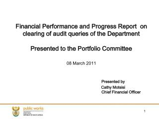 Financial Performance and Progress Report  on clearing of audit queries of the Department  Presented to the Portfolio Co
