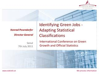 Identifying Green Jobs - Adapting Statistical Classifications