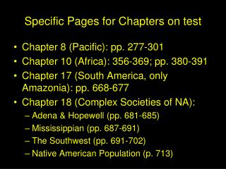 Specific Pages for Chapters on test