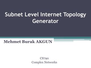 Subnet Level Internet Topology  Generator