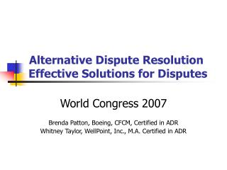 Alternative Dispute Resolution  Effective Solutions for Disputes