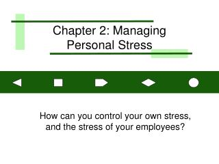 Chapter 2: Managing  Personal Stress