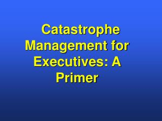 Catastrophe Management for Executives: A Primer