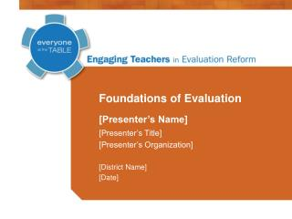 Foundations of Evaluation