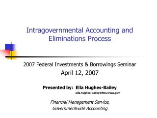 Intragovernmental Accounting and Eliminations Process