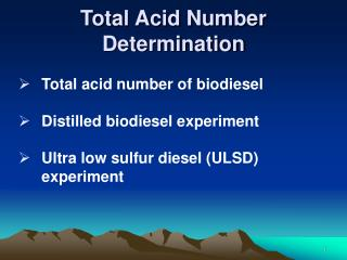 Total Acid Number Determination