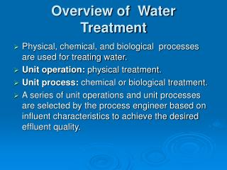 Overview of  Water Treatment