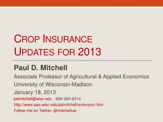 Crop Insurance Updates for 2013