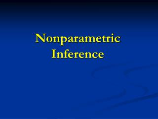 Nonparametric Inference
