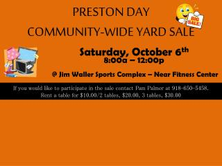PRESTON DAY  COMMUNITY-WIDE YARD SALE