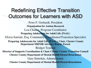 Redefining Effective Transition Outcomes for Learners with ASD