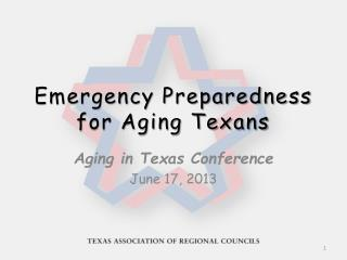 Emergency Preparedness  for Aging Texans