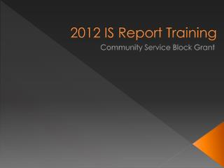 2012  IS Report Training
