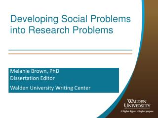 Developing Social Problems into Research Problems