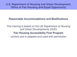 U.S. Department of Housing and Urban Development, Office of Fair Housing and Equal Opportunity