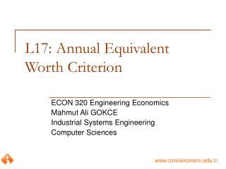 L17: Annual Equivalent Worth Criterion