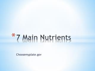 7 Main Nutrients