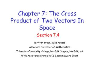 Chapter 7: The Cross Product of Two Vectors In  Space