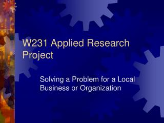 W231 Applied Research Project
