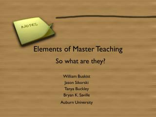 Elements of Master Teaching