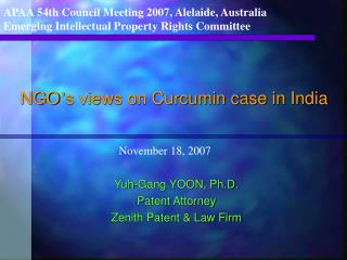 NGO ' s views on Curcumin case in India