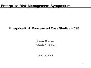 Enterprise Risk Management Case Studies – CS5