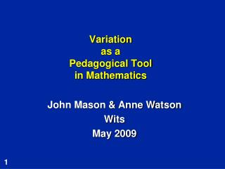 Variation  as a  Pedagogical Tool in Mathematics