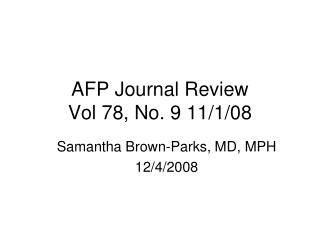 AFP Journal Review Vol 78, No. 9 11/1/08