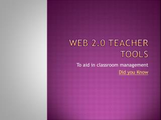 Web 2.0 Teacher Tools