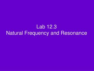 Lab 12.3 Natural Frequency and Resonance