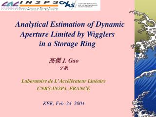 Analytical Estimation of Dynamic  Aperture Limited by Wigglers  in a Storage Ring