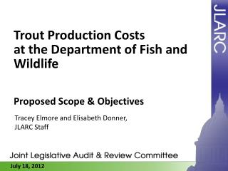 Trout Production Costs at  the Department  of Fish and Wildlife