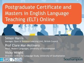 Postgraduate Certificate and Masters in English Language Teaching (ELT) Online