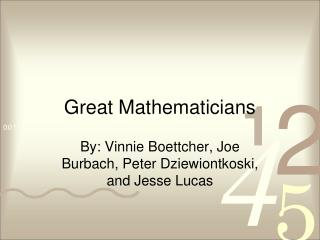 Great Mathematicians