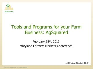 Tools and Programs for your Farm Business: AgSquared