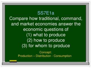 Concept: Production – Distribution - Consumption