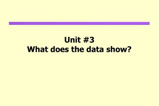 Unit #3 What does the data show?
