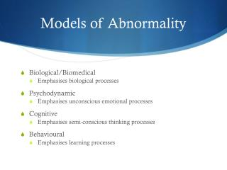 Models of Abnormality