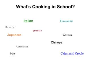 What's Cooking in School?
