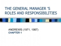 THE GENERAL MANAGER  S ROLES AND RESPONSIBILITIES